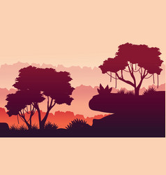 Silhouette beauty jungle landscape vector