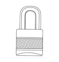 Silhouette closed padlock flat icon vector