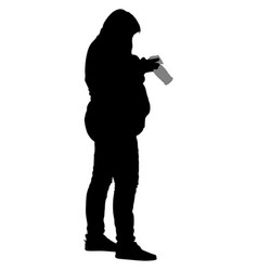 silhouette of a full woman with a camera vector image