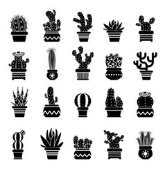 silhouette of desert plants monochrome vector image