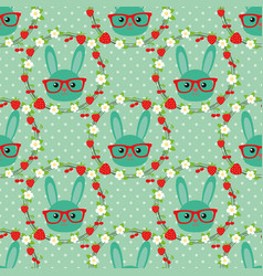 smart bunny in a wreath of flowers and berries vector image