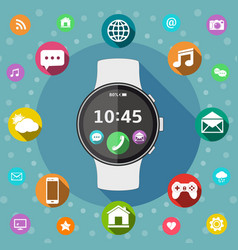 Smart watch with icons flat design vector