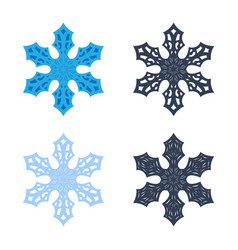 snowflakes signs set blue gray snowflake icons vector image