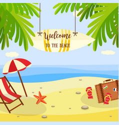 Summer beach vacation banner with lounge and vector