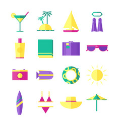 summer holidays travel icons vector image