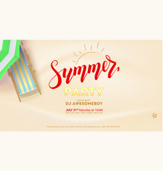 Summer party on seascape seashore with sandy beach vector