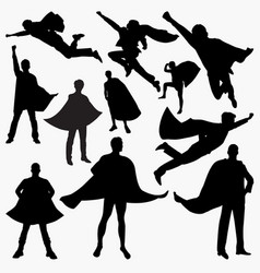 superhero silhouettes vector image