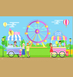 Sweet street food carts in big amusement park vector