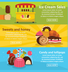 sweets candies banner horizontal set flat style vector image