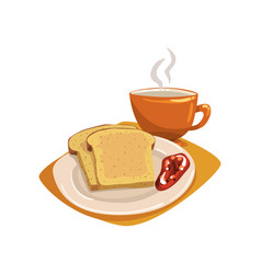 Tasty sliced bread toasts with fruit jam on plate vector
