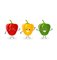 three cartoon peppers vector image