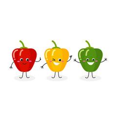three cartoon peppers vector image
