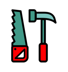 tools saw hammer icon vector image