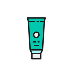 toothpaste tooth cream flat color line icon vector image