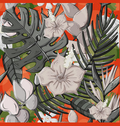 Tropical seamless pattern with monstera vector