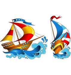 two yachts vector image