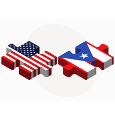 USA and Puerto Rico Flags in puzzle vector