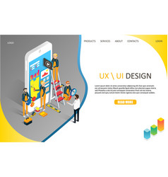 ux or ui design landing page website vector image