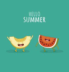 Watermelon melon slice vector image
