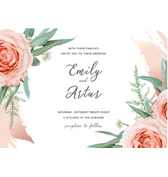 wedding invite save date card design blush roses vector image