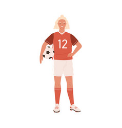 young female football or soccer player standing vector image