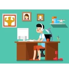 Freelancer at work vector image