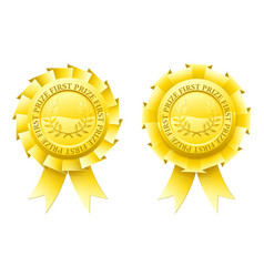 gold first prize rosettes vector image vector image
