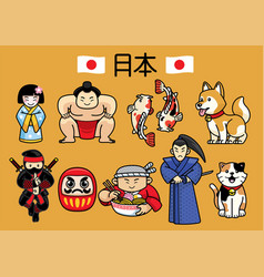 Japan character culture in set vector