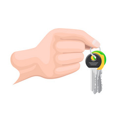 keys on keyring in human hand flat style vector image vector image