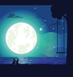 moon and river silhouette vector image vector image