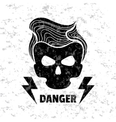 Skull hipster Template for design t-shirts vector image vector image