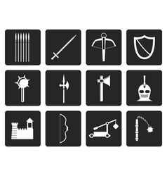 Black medieval arms and objects icons vector image
