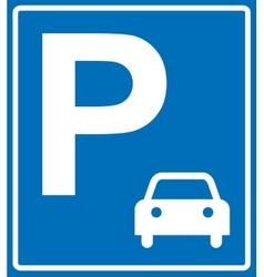 blue parking sign on blue vector image vector image