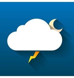Night cloud moon and lightning isolated on dark vector
