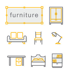 thin line icons set furniture yellow vector image