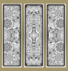 vertical floral flyer with handdrawn pattern vector image