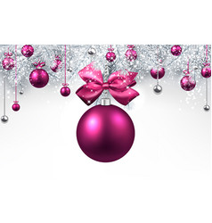 white background with pink christmas ball vector image vector image