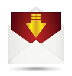 White envelope gold arrow symbol vector