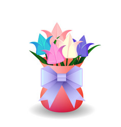 a bouquet of origami tulips in vase and o vector image vector image