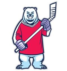 bear ice hockey mascot vector image vector image