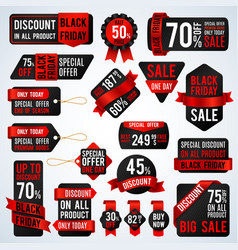 black friday sale banners and price tag labels vector image