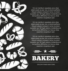 Blackboard poster with bread and croissant - vector