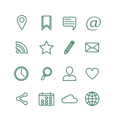 Contour social media icons set vector image vector image
