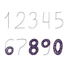 hand drawn with ink and nib numbers vector image vector image