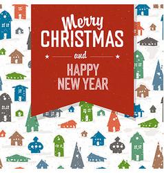 Merry Christmas Greeting Postcard Xmas Village vector image vector image