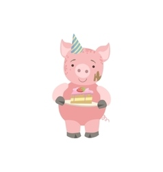 Pig Cute Animal Character Attending Birthday Party vector image vector image