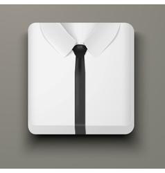 Premium Icon white shirt and black tie vector image