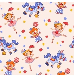 Seamless kids circus background pattern in vector image