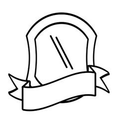 shield protection emblem outline empty vector image