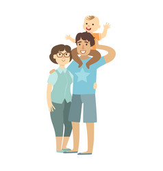 young parents and toddler son sitting on fathers vector image